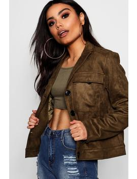 Hallie Suedette Trucker Jacket by Boohoo