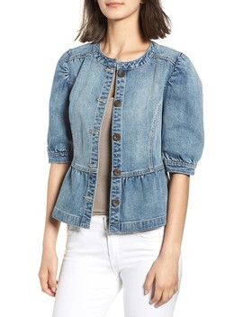 Peplum Denim Jacket by Hinge