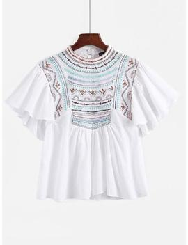 Angel Sleeve Embroidered Babydoll Blouse by Sheinside