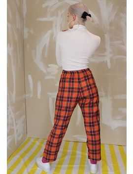 High Waist Tartan Check Trousers In Orange by Dreaming London