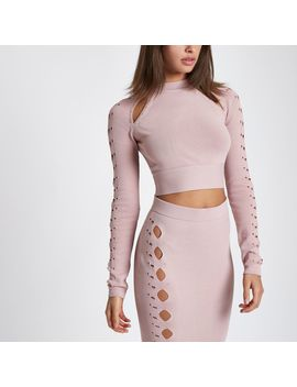 Light Pink Cut Out Cropped Long Sleeve Top                                  Light Pink Cut Out Cropped Long Sleeve Top                                    Light Pink Cut Out Studded Pencil Skirt                                    Light Pink Cut Out Stud... by River Island