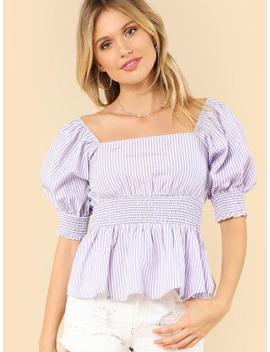 Shirred Cuff & Waist Striped Bardot Top by Shein