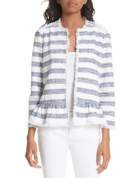 Stripe Fringe Peplum Tweed Jacket by Kate Spade New York
