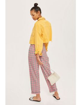 Checked Tapered Trousers by Topshop