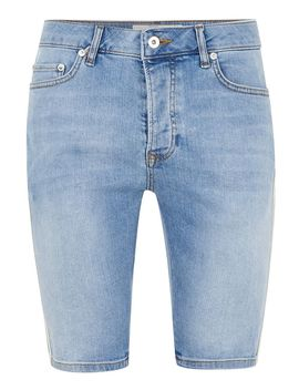 Denim With Cream Stretch Skinny Side Taping Shorts by Topman