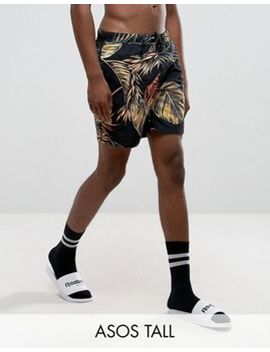 Asos Tall Swim Shorts With Floral Print In Mid Length by Asos