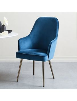 Mid Century High Back Velvet Dining Chair by West Elm