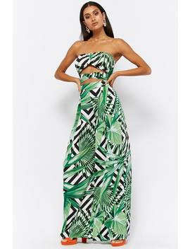 Palm Leaf Chevron Print Crop Top & Pants Set by Forever 21