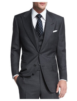 Windsor Base Sharkskin Three Piece Suit, Charcoal by Tom Ford