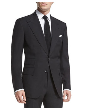 Windsor Base Peak Lapel Two Piece Suit, Black by Tom Ford