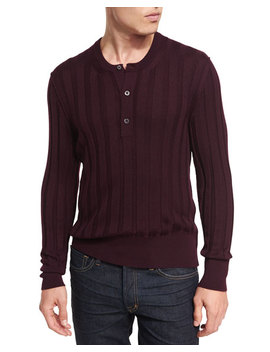 Cashmere Silk Ribbed Henley Sweater by Tom Ford