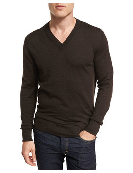 Merino Wool V Neck Sweater, Brown by Tom Ford