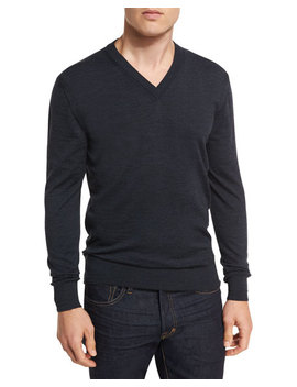 Merino Wool V Neck Sweater, Navy by Tom Ford