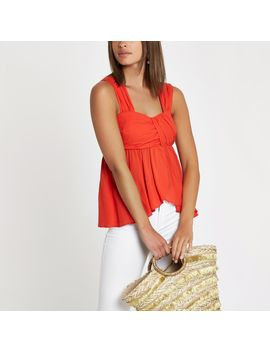 Red Pleated Cami Top                                  Red Pleated Cami Top by River Island