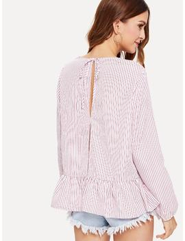 Ruffle Hem Striped Top by Shein