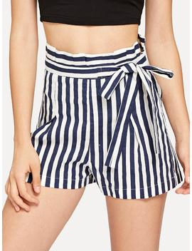 High Waist Pinstripe Shorts by Shein
