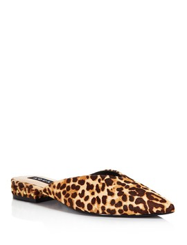 Women's Leopard Print Calf Hair Mules   100 Percents Exclusive by Aqua