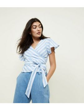 Blue Stripe Wrap Frill Sleeve Shirt by New Look
