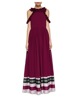 Stepha Imperial Stripe Cold Shoulder Gown by Ted Baker