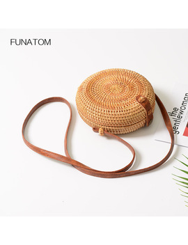 Handmade Rattan Buckle Round Straw Bag Circle Wicker Beach Bag Square Box Shoulder Bag For Women by Funatom