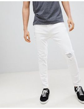 Stradivarius Rip & Repair Paneled Slim Fit Jeans In White by Stradivarius
