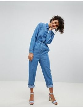 Asos Design Denim Utility Jumpsuit In Blue by Asos Design