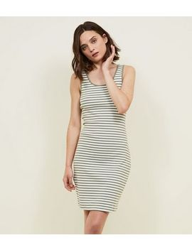 Khaki Stripe Ribbed Bodycon Dress by New Look