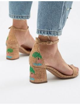 Glamorous Natural Flamingo Embroidered Mid Heel Sandals by Glamorous