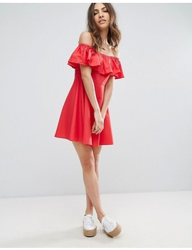 Qed London Frill Bardot Dress by Casual Dress