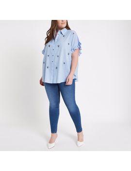 Plus Blue Embellished Frill Side Shirt                                  Plus Blue Embellished Frill Side Shirt by River Island