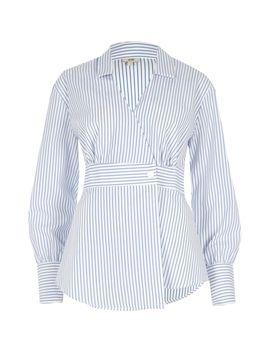 White Stripe Print Long Sleeve Shirt                                  White Stripe Print Long Sleeve Shirt by River Island