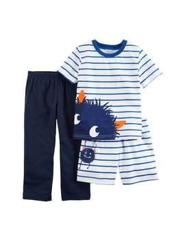 Toddler Boy Carter's 3 Pc. Monster Striped Pajama Set by Kohl's