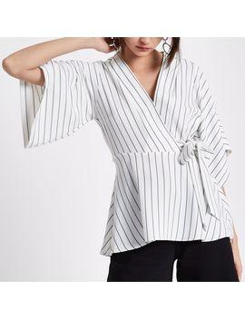 Cream Stripe Wrap Kimono Sleeve Top                                  Cream Stripe Wrap Kimono Sleeve Top by River Island