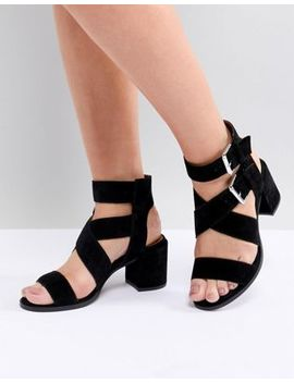 Office Miles Black Suede Buckle Block Heeled Sandals by Office