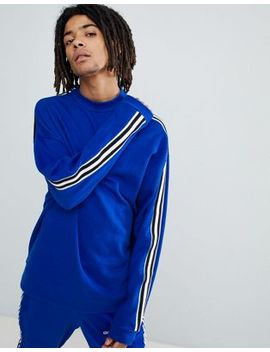Asos Design Oversized Sweatshirt In Blue With Side Stripe by Asos Design