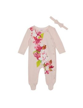 Baker By Ted Baker   Baby Girls' Pink Floral Print Sleepsuit by Baker By Ted Baker