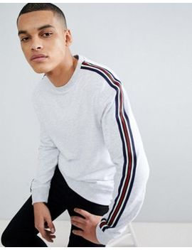 New Look   Sweat Shirt Avec Bande Sur La Manche   Gris by New Look