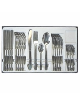 Cutlery Set Stainless Steel 16, 24, 40 Piece Including Knife, Forks, Spoons & Tea Spoons Extra Value Student Living Place Settings (24 Pieces) by Amazon