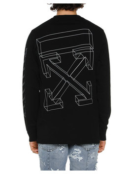 Men's Diagonal 3 D Lines Long Sleeve T Shirt by Off White