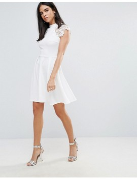 Club L Skater Dress With Lace Detail by Club L
