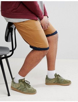Duke Plus Chino Shorts With Stretch And Contrast Roll Hem In Tobacco by Duke