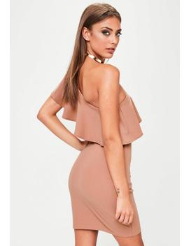 Pink One Shoulder Frill Detail Bodycon Dress by Missguided