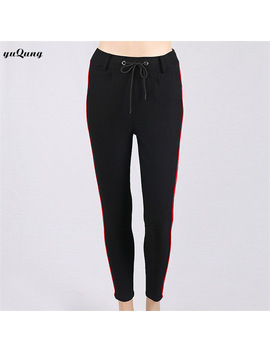 Yuqung Women Lace Up Pencil Pants 2018 Black Female High Waist Casual Ol Side Stripe Elastic Waist Pants Trousers Joggers L54 by Yuqung