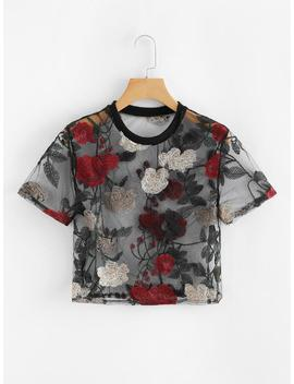 Sheer Mesh Floral Embroidered Crop Top by Romwe
