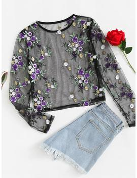 Flower Embroidery Mesh Blouse by Romwe