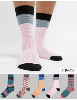 Asos Design Socks In Spots & Stripes 5 Pack by Asos Design