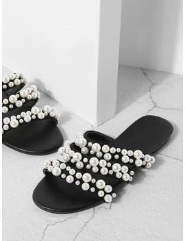 Faux Pearl Decorated Flat Sandals by Sheinside