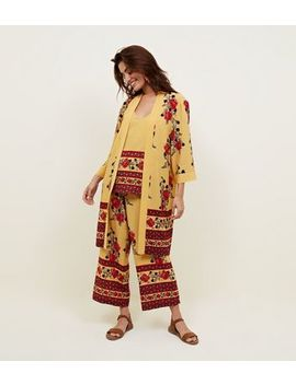 Yellow Border Floral Print Wide Leg Trousers 				  				 					 				 			 			 					Mustard Floral Border Print Cami  				  				 					 				 			 			 					Mustard Floral Border Print Kimono by New Look