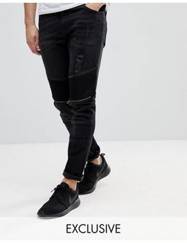 Brooklyn Supply Co Skinny Jeans With Biker Zip Rip Detail by Brooklyn Supply Co