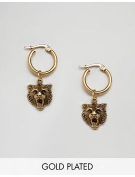Regal Rose 18 K Gold Plated Lion Head Hoop Earrings by Regal Rose